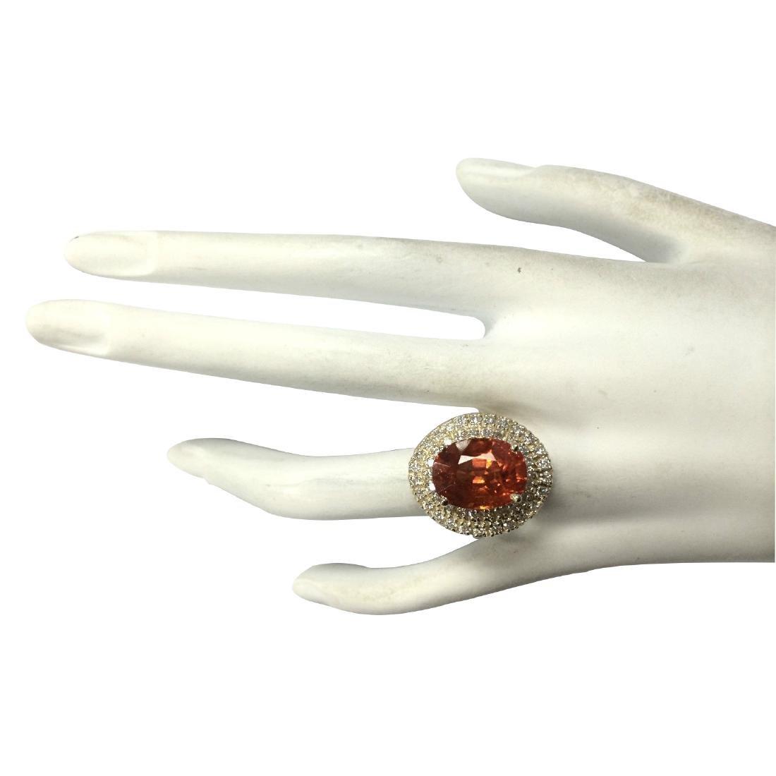 11.64CTW Natural Mandarin Garnet And Diamond Ring 18K - 4