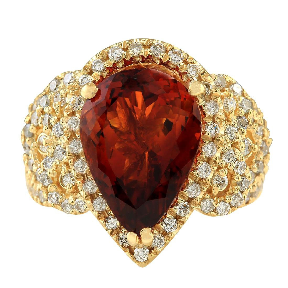 8.20CTW Natural Madeira Citrine And Diamond Ring In 18K