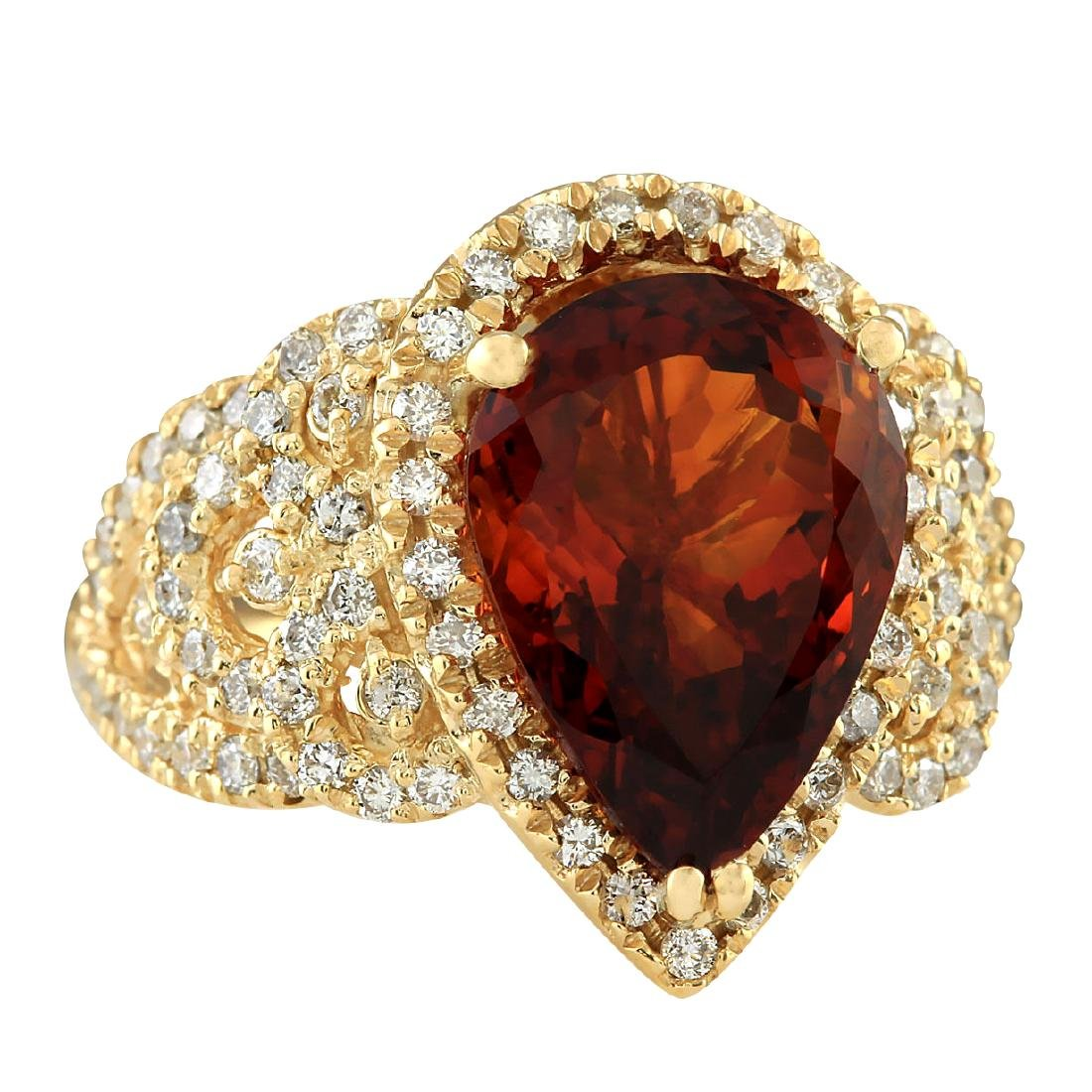 8.20CTW Natural Madeira Citrine And Diamond Ring In 18K - 2