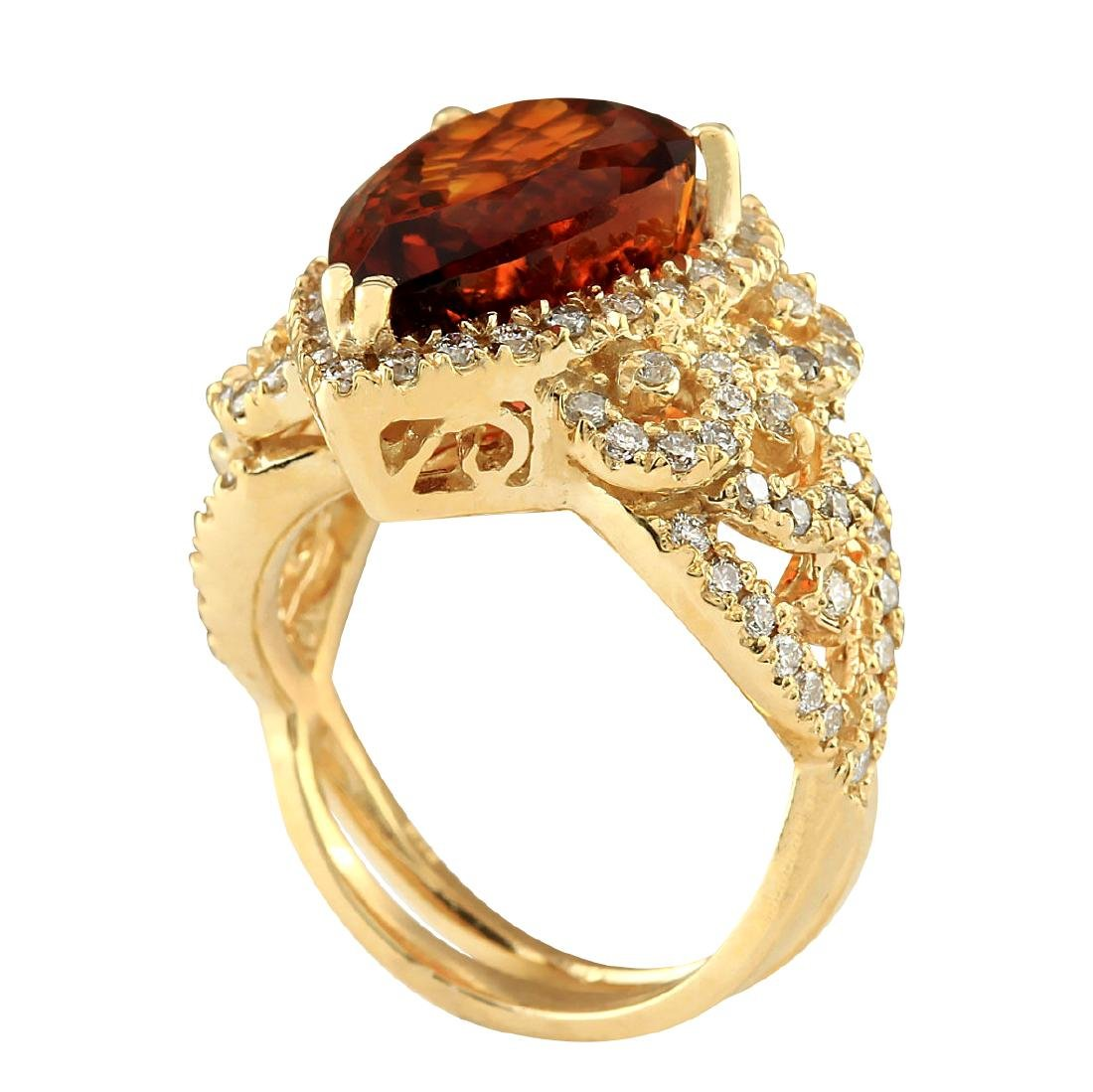 8.20CTW Natural Madeira Citrine And Diamond Ring In 18K - 3