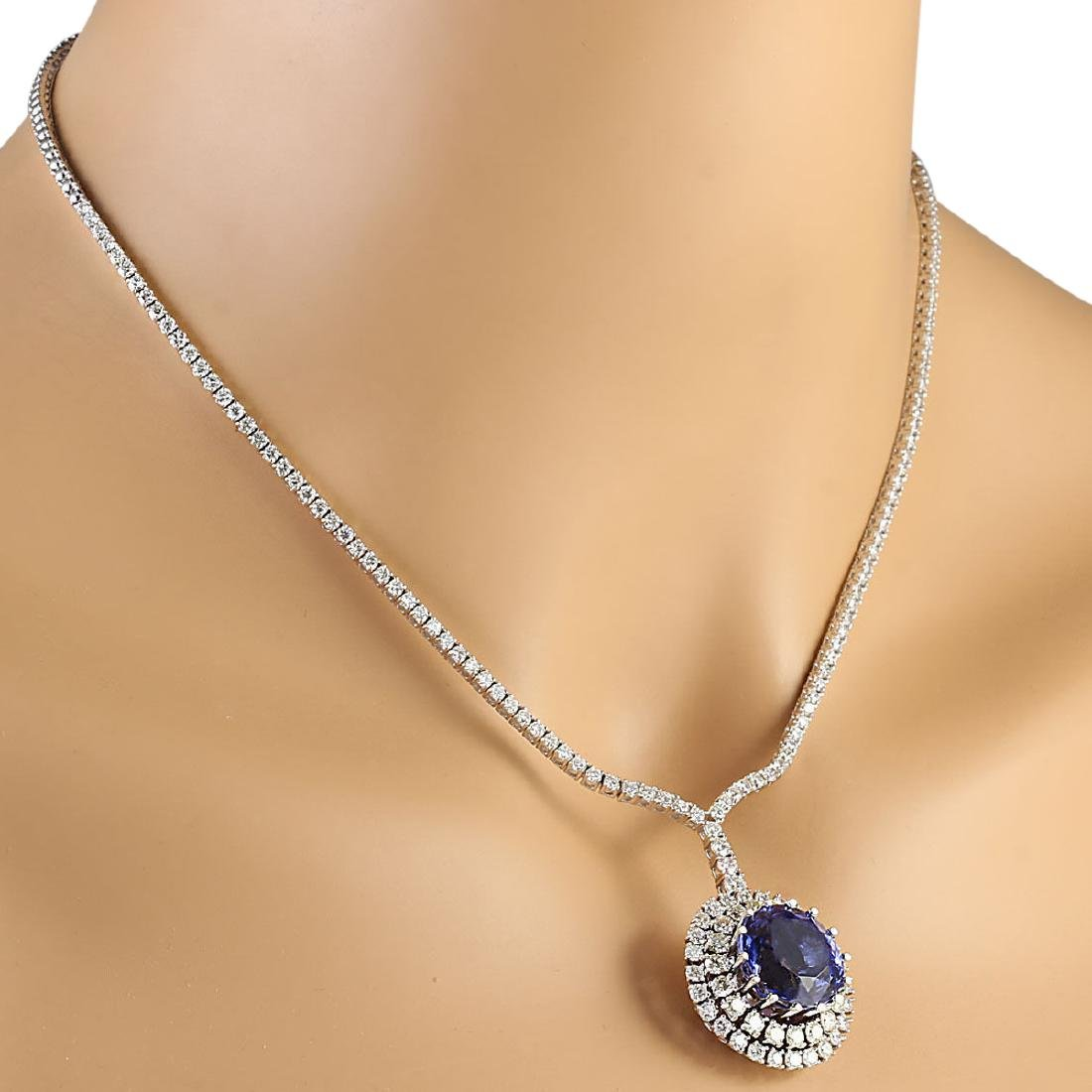 22.09 CTW Natural Tanzanite And Diamond Necklace In 18K - 4