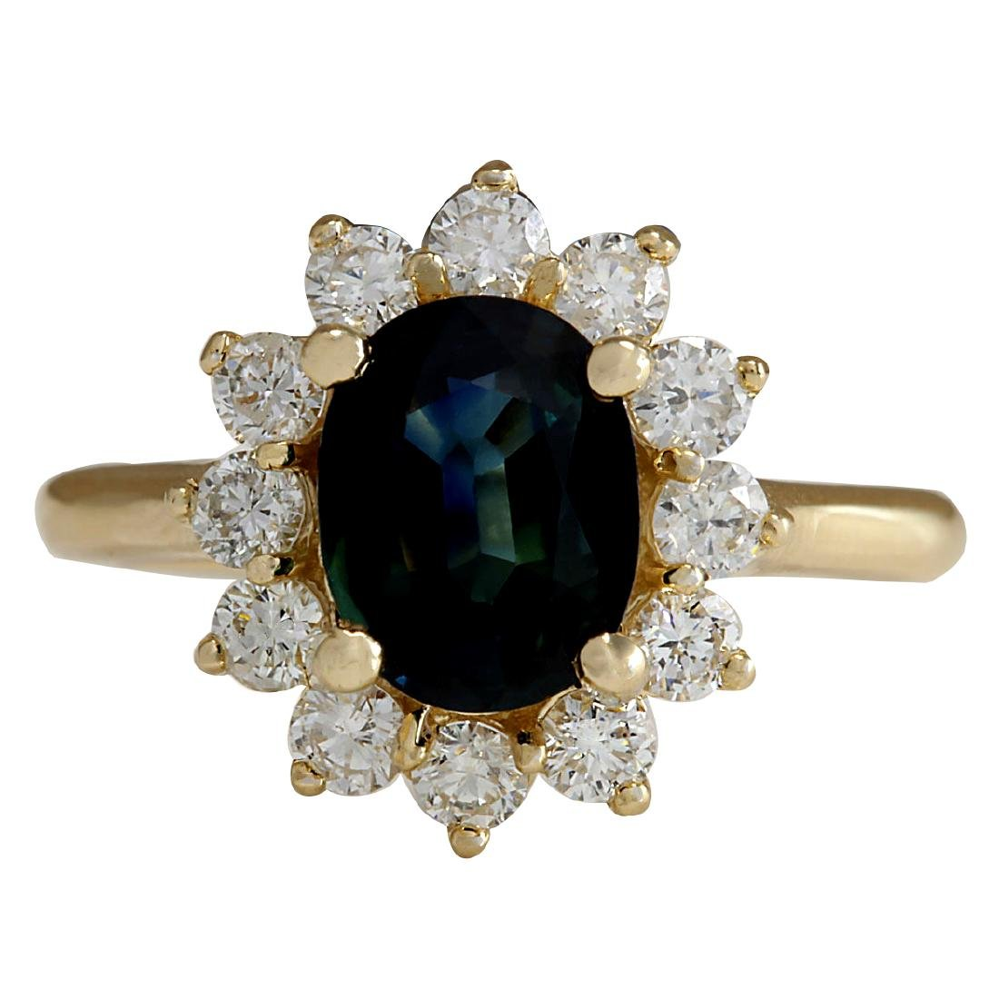 2.93CTW Natural Blue Sapphire And Diamond Ring 18K