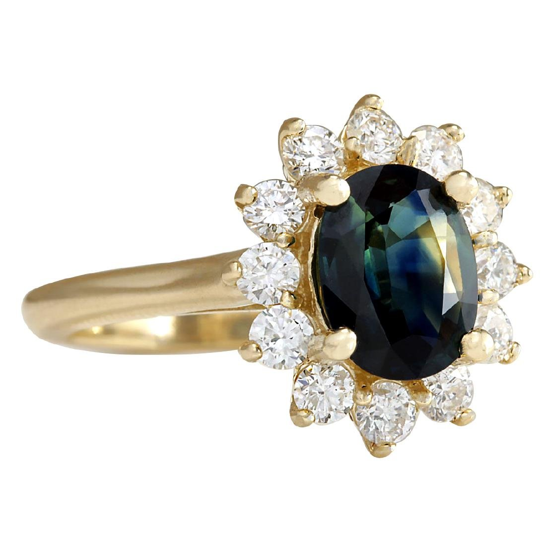 2.93CTW Natural Blue Sapphire And Diamond Ring 18K - 2
