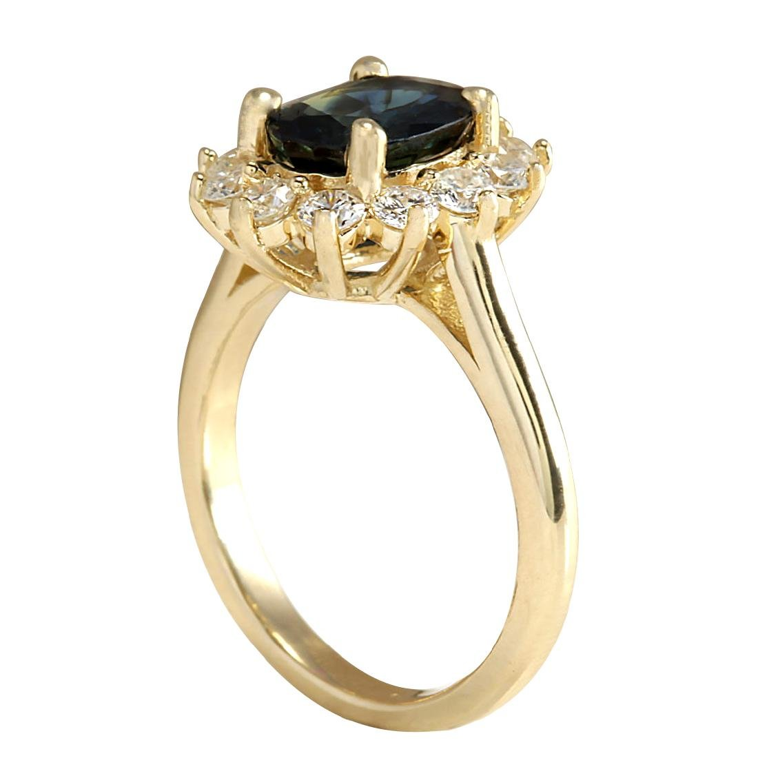 2.93CTW Natural Blue Sapphire And Diamond Ring 18K - 3