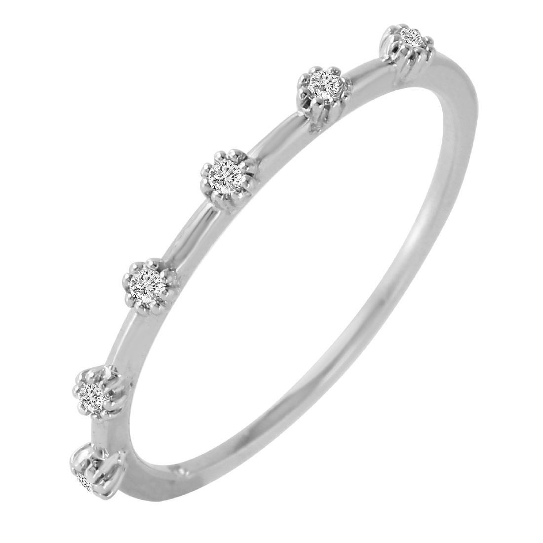 0.09 Carat Natural Diamond 18K Solid White Gold Ring