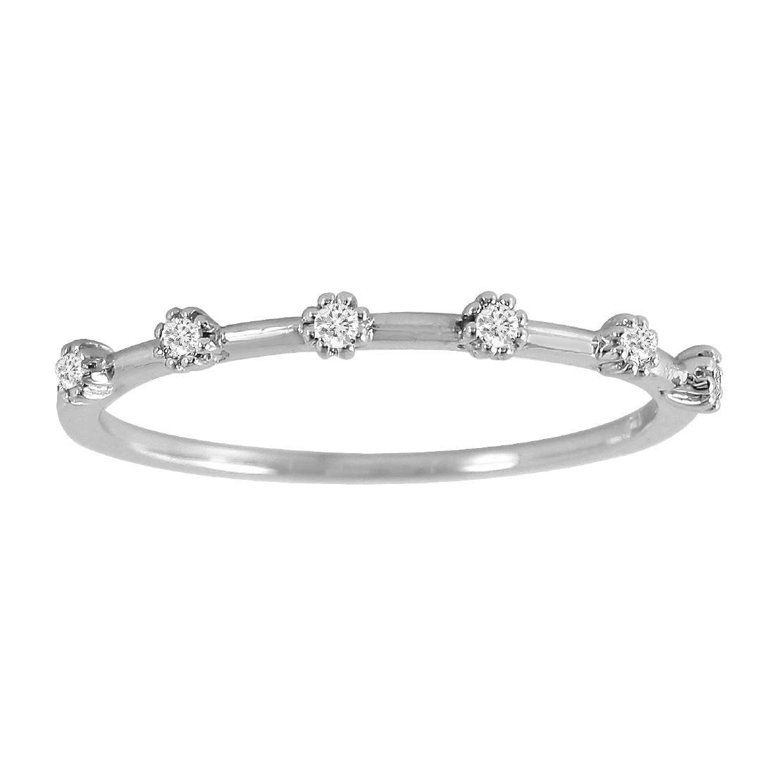 0.09 Carat Natural Diamond 18K Solid White Gold Ring - 2