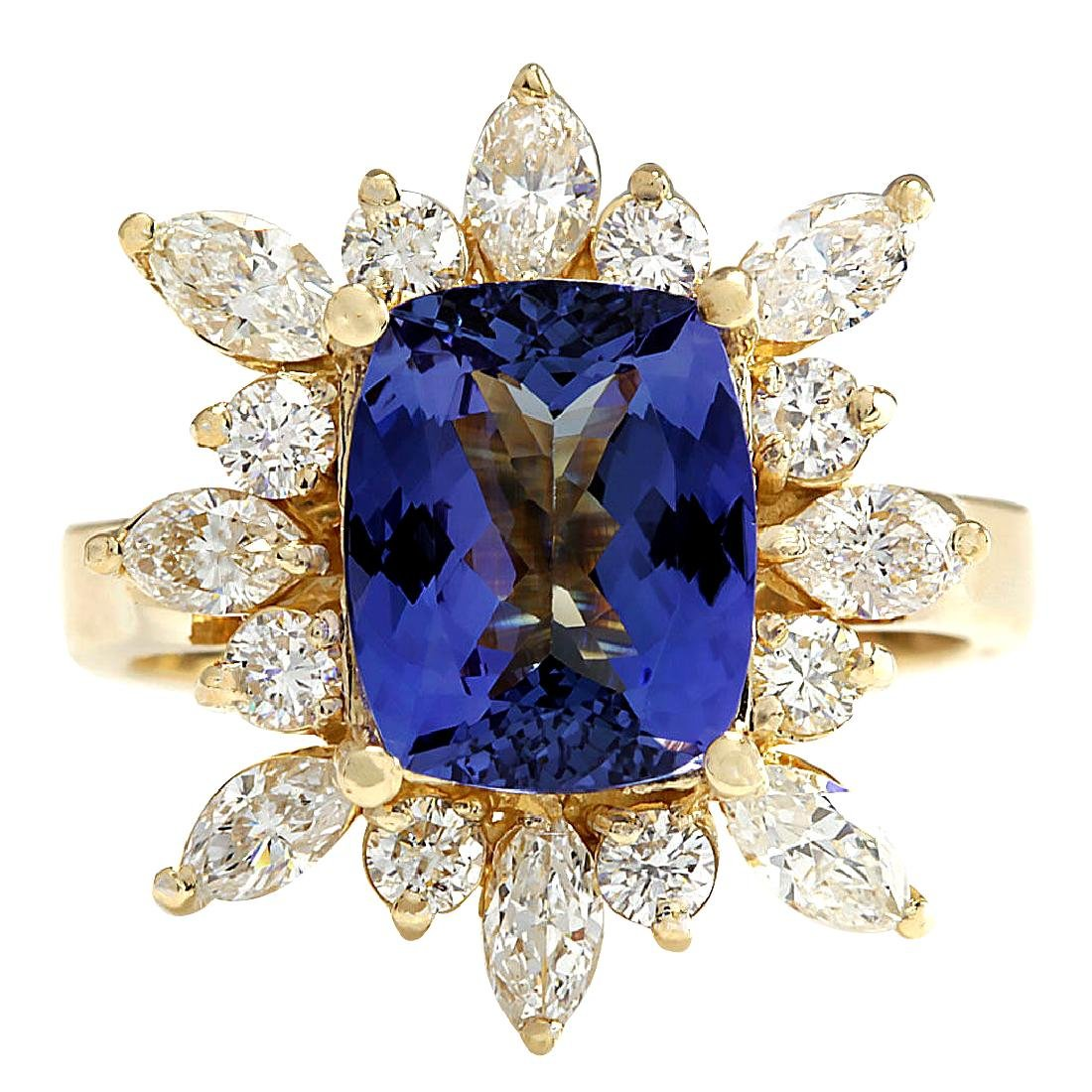 4.36CTW Natural Blue Tanzanite And Diamond Ring In 18K