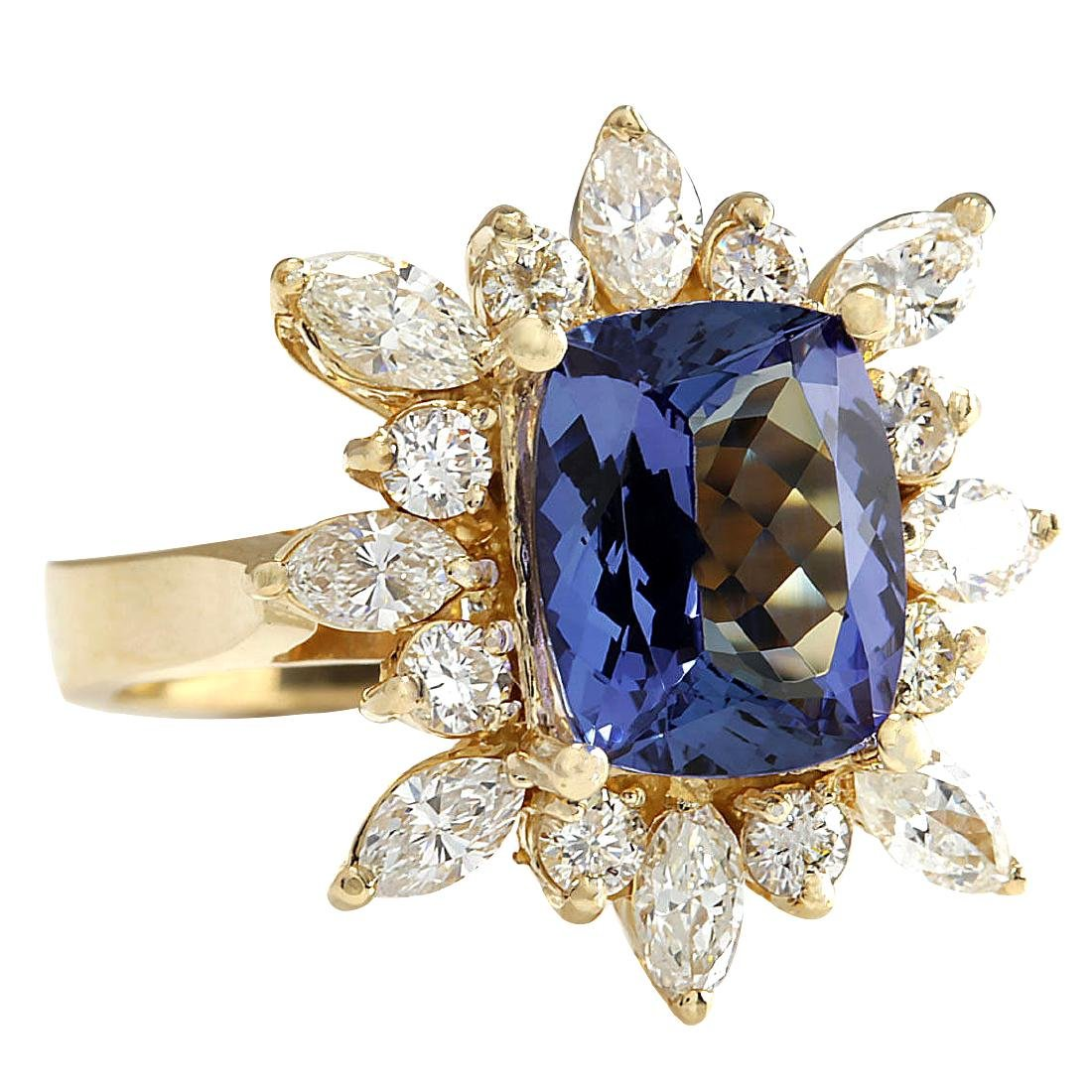 4.36CTW Natural Blue Tanzanite And Diamond Ring In 18K - 2