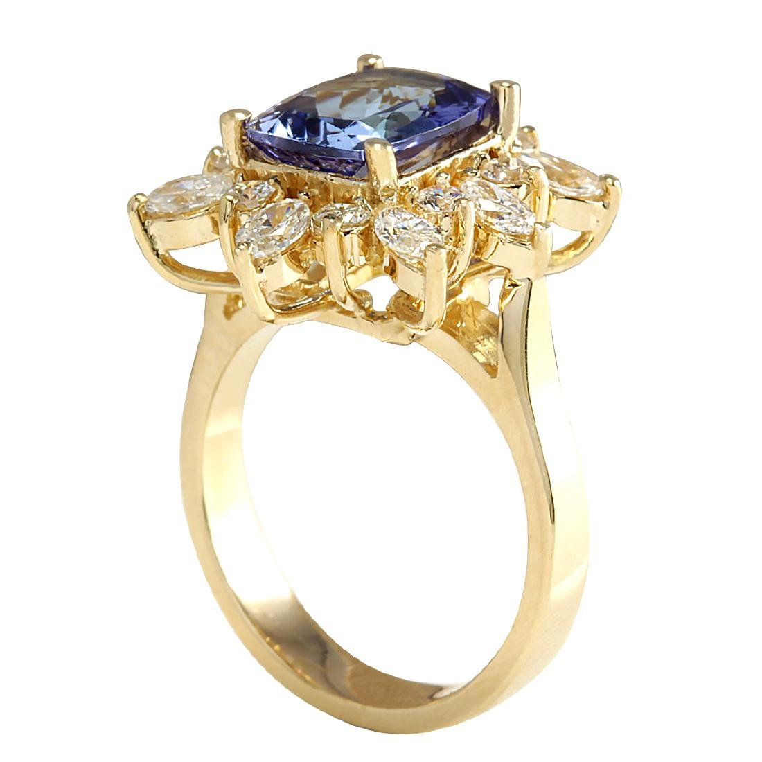 4.36CTW Natural Blue Tanzanite And Diamond Ring In 18K - 3