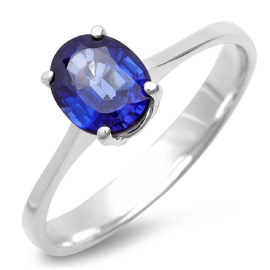 1.20 Carat Natural Sapphire 18K Solid White Gold Ring