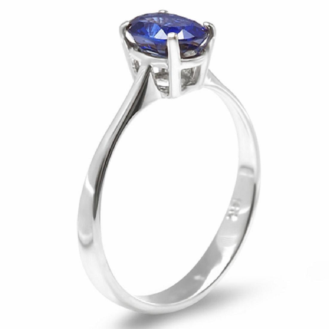 1.20 Carat Natural Sapphire 18K Solid White Gold Ring - 2