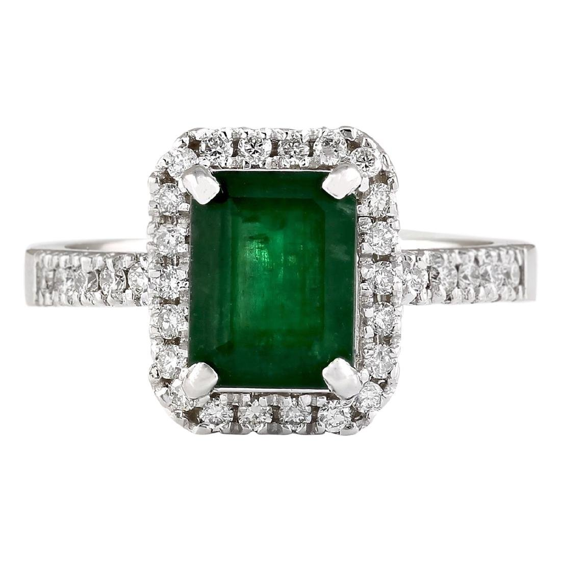 2.64 CTW Natural Emerald And Diamond Ring In 18K White