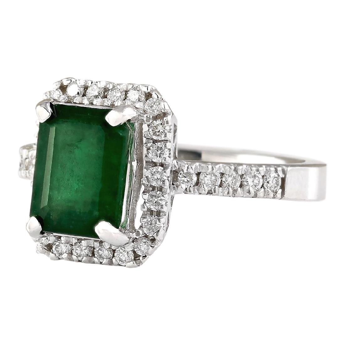 2.64 CTW Natural Emerald And Diamond Ring In 18K White - 2