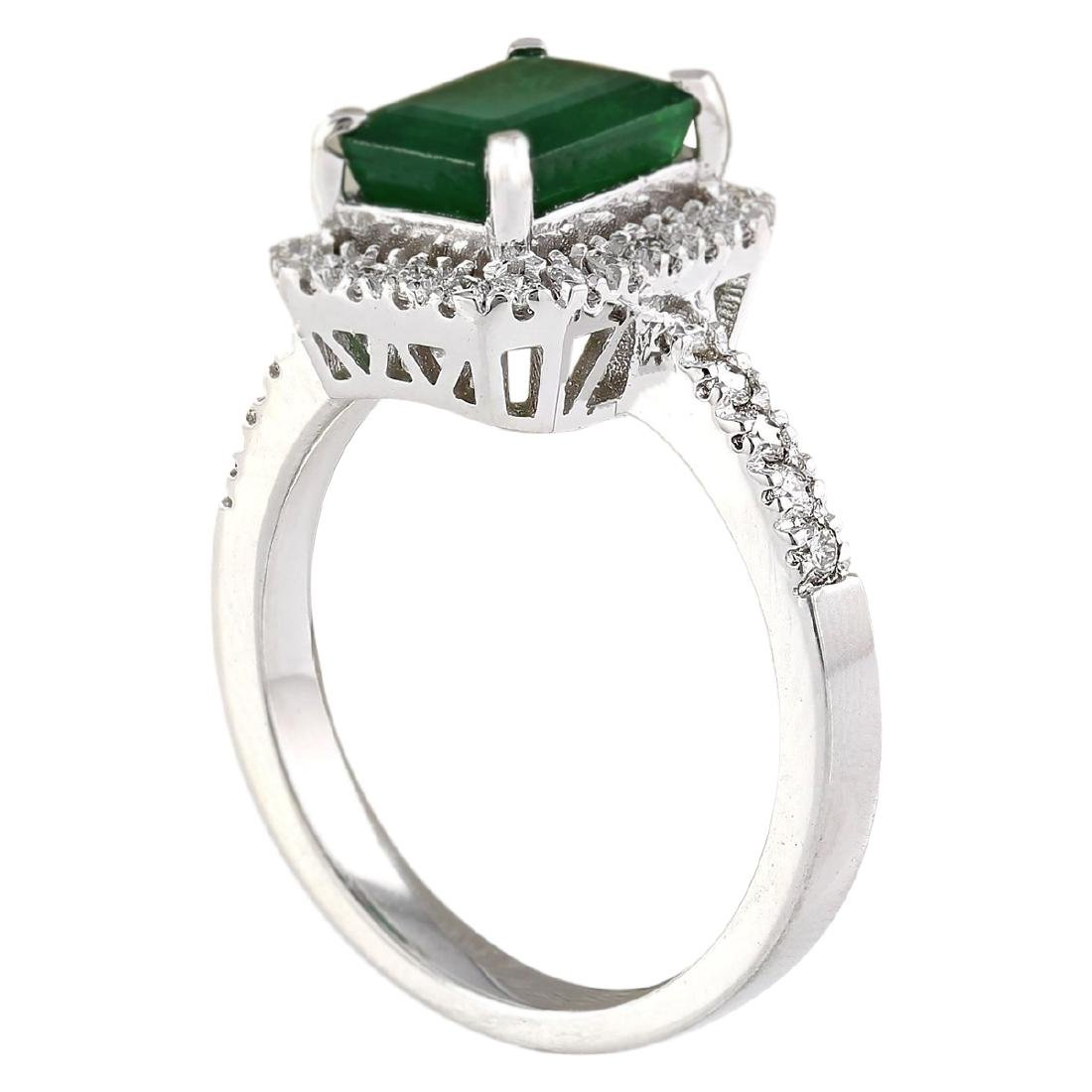 2.64 CTW Natural Emerald And Diamond Ring In 18K White - 3