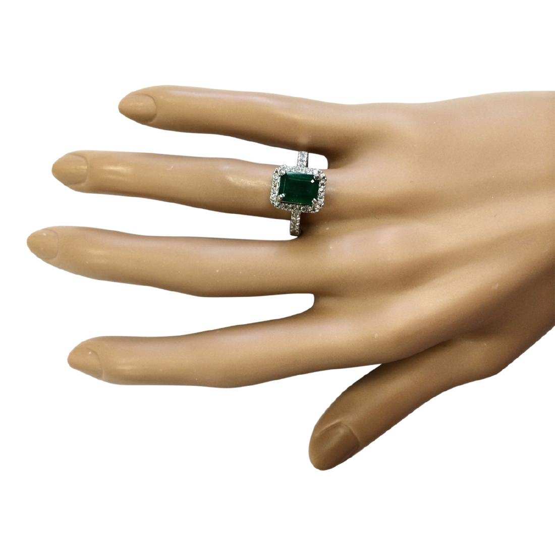 2.64 CTW Natural Emerald And Diamond Ring In 18K White - 4