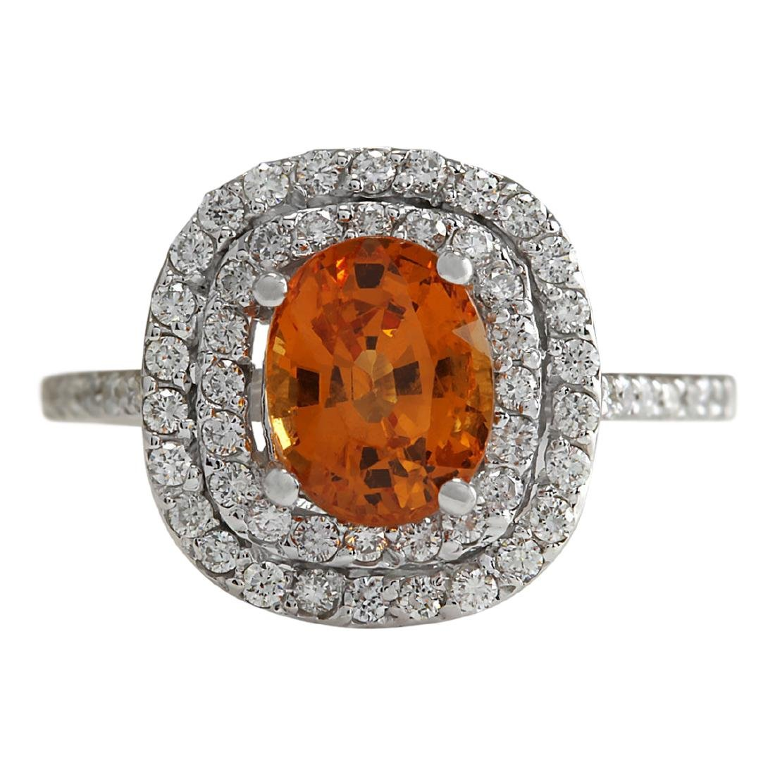 3.13 CTW Natural Orange Sapphire And Diamond Ring In18K