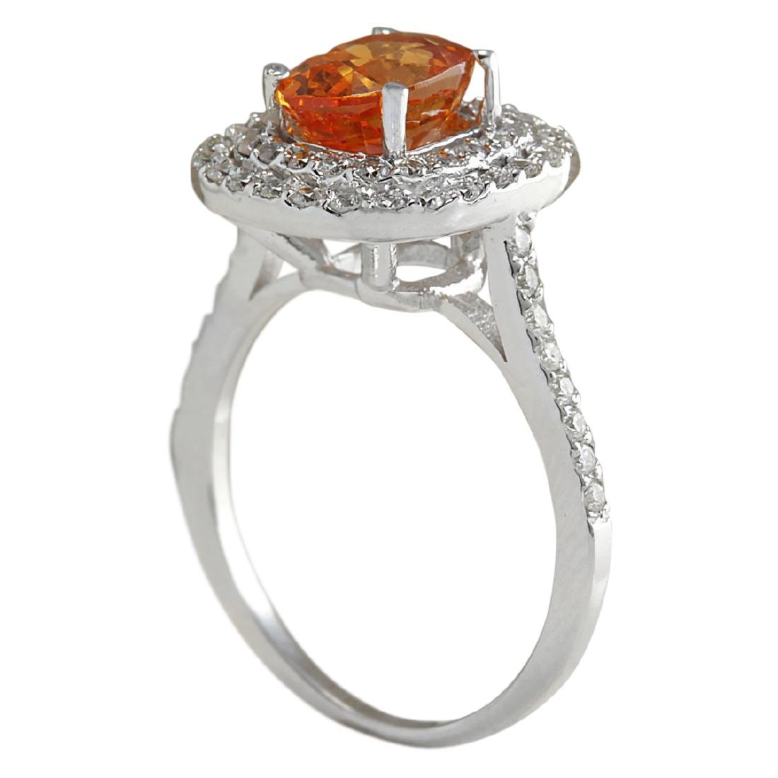 3.13 CTW Natural Orange Sapphire And Diamond Ring In18K - 3