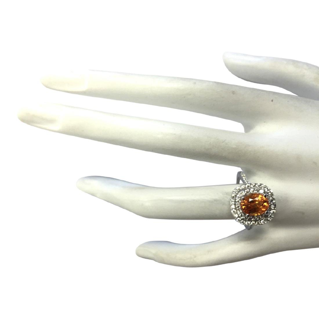 3.13 CTW Natural Orange Sapphire And Diamond Ring In18K - 4