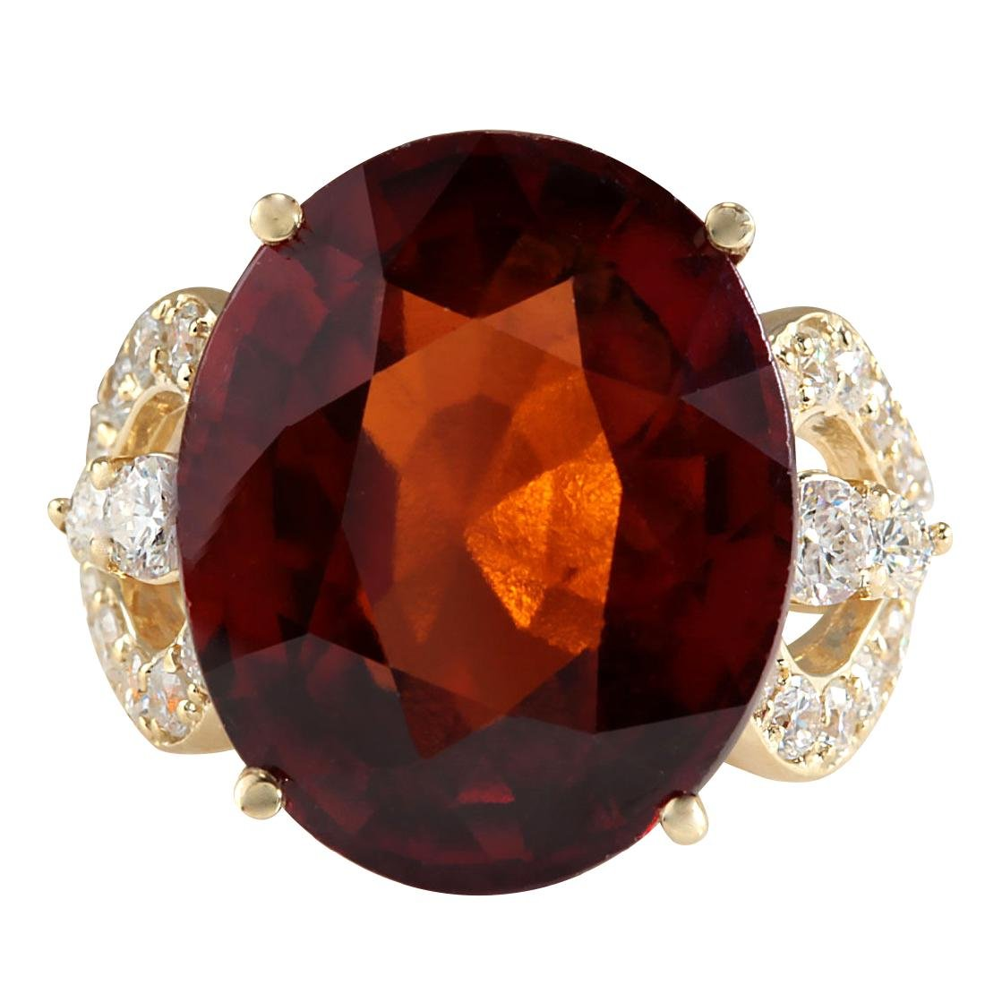 19.58CTW Natural Hessonite Garnet And Diamond Ring In