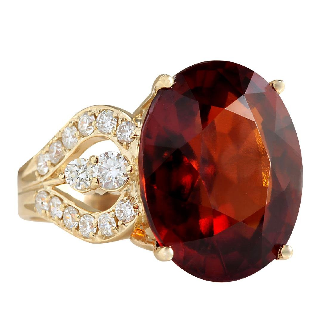 19.58CTW Natural Hessonite Garnet And Diamond Ring In - 2