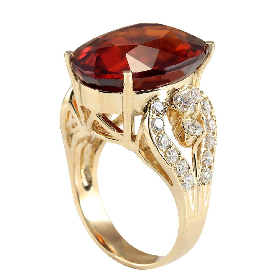 19.58CTW Natural Hessonite Garnet And Diamond Ring In - 3