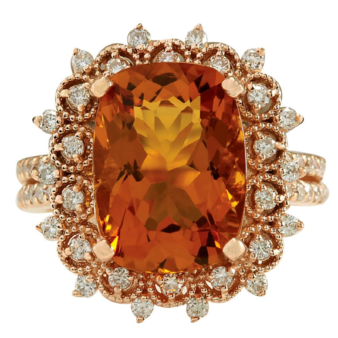 6.39CTW Natural Madeira Citrine And Diamond Ring 18K
