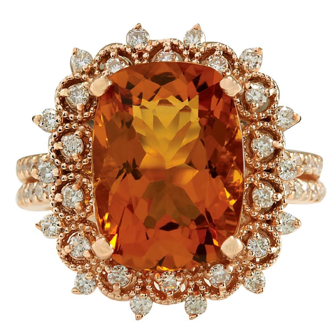 6.39CTW Natural Madeira Citrine And Diamond Ring 18K