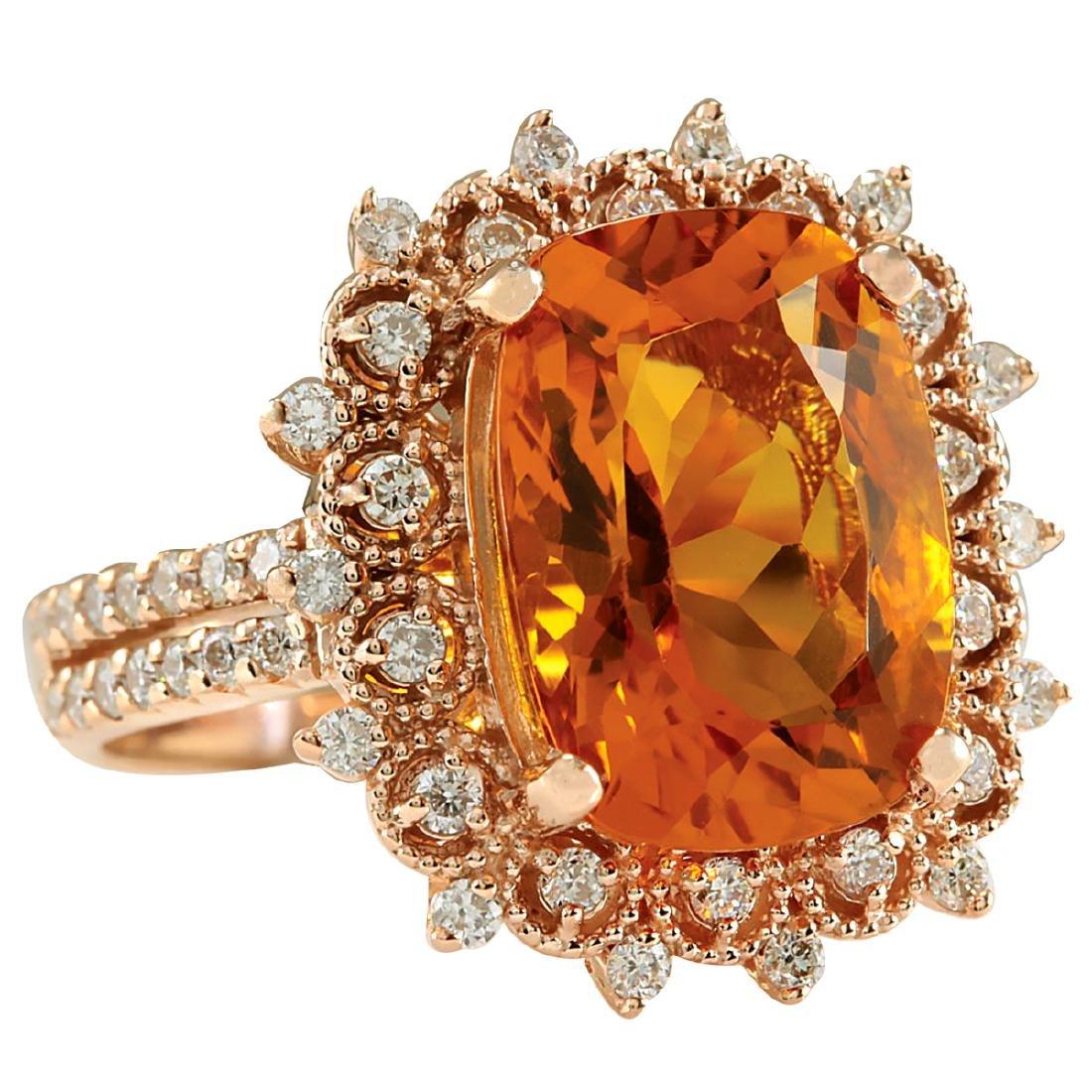 6.39CTW Natural Madeira Citrine And Diamond Ring 18K - 2