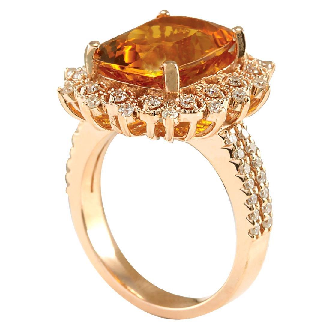 6.39CTW Natural Madeira Citrine And Diamond Ring 18K - 3