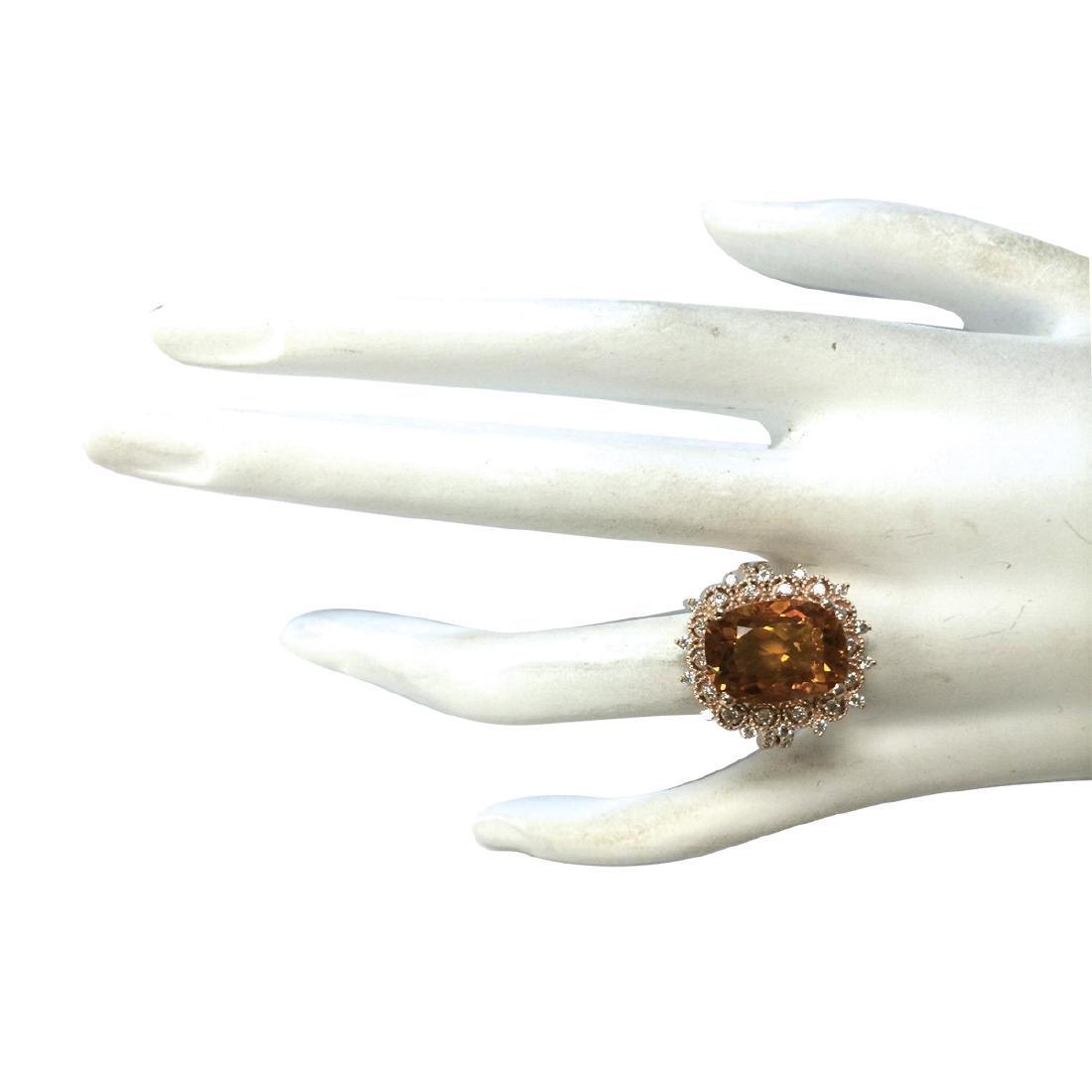 6.39CTW Natural Madeira Citrine And Diamond Ring 18K - 4