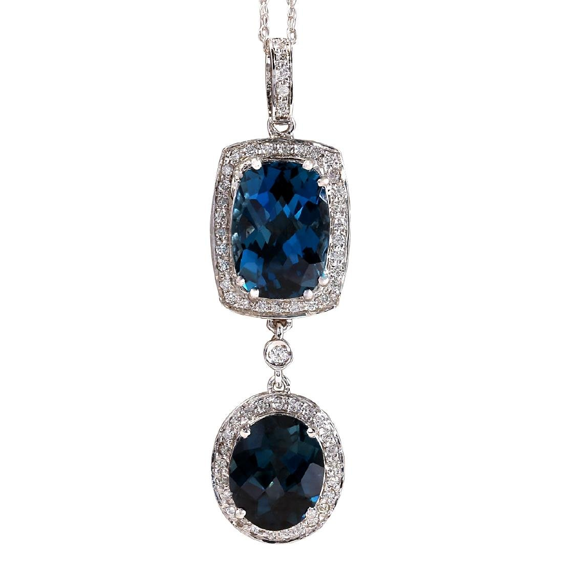14.19CTW Natural Topaz And Diamond Pendant In 18K Solid