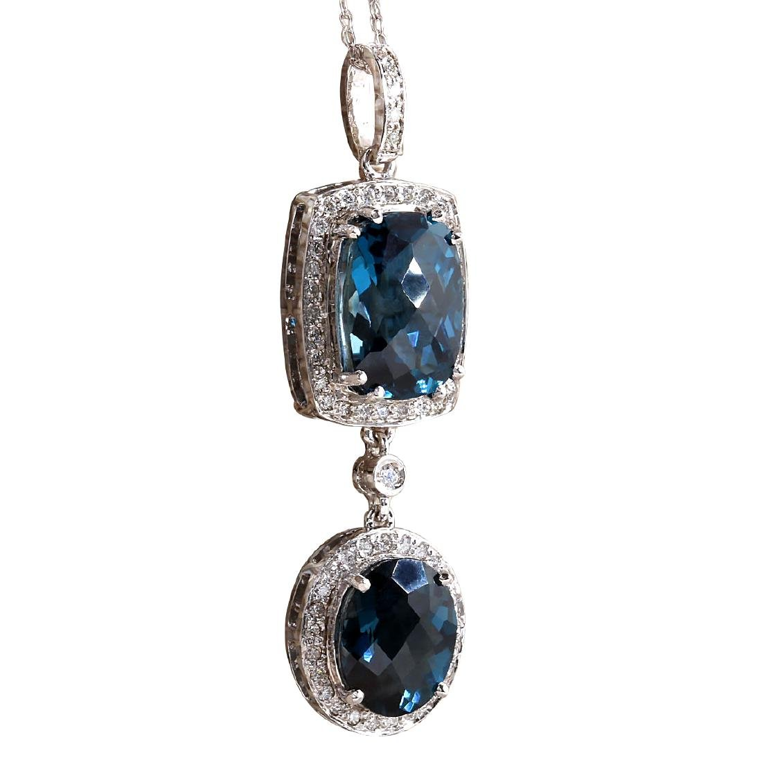 14.19CTW Natural Topaz And Diamond Pendant In 18K Solid - 2
