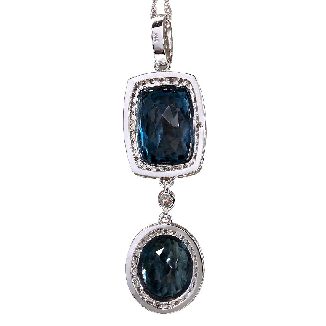 14.19CTW Natural Topaz And Diamond Pendant In 18K Solid - 3