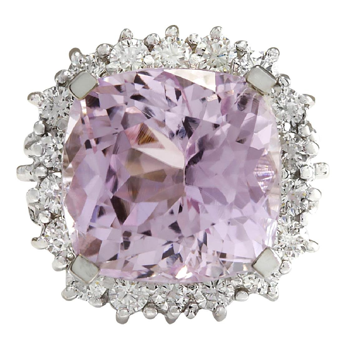 18.62CTW Natural Kunzite And Diamond Ring 18K Solid