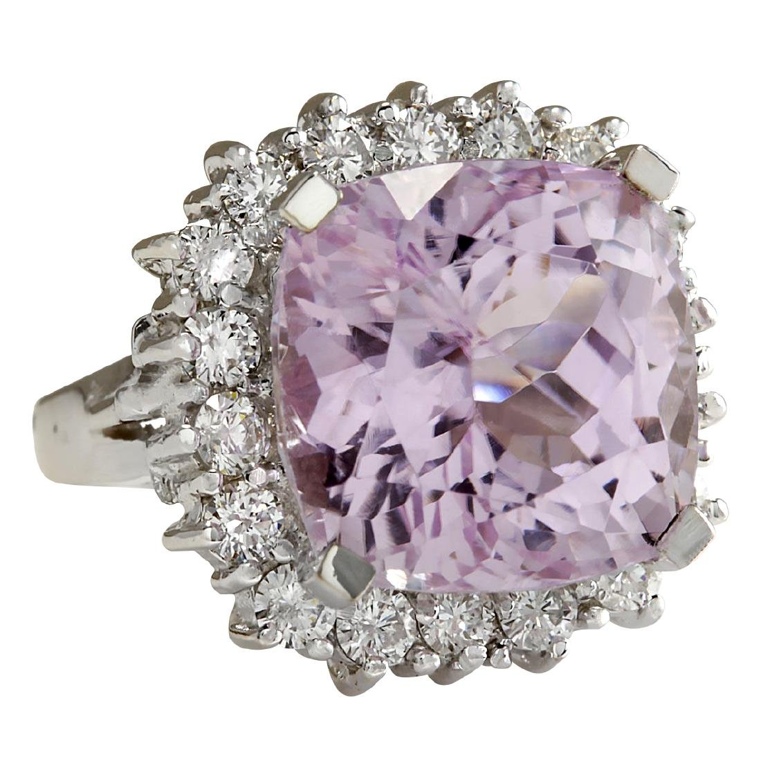 18.62CTW Natural Kunzite And Diamond Ring 18K Solid - 2