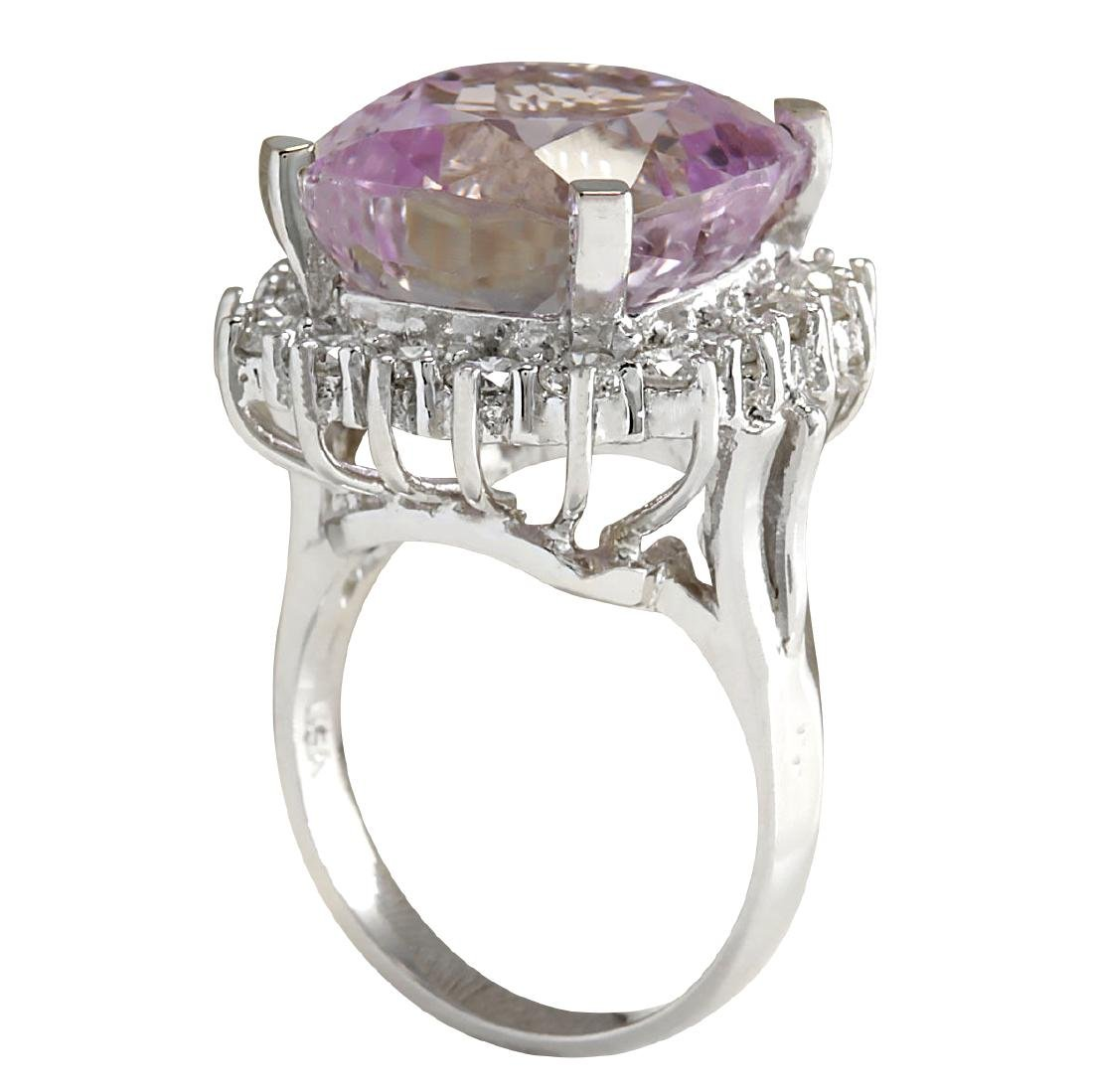 18.62CTW Natural Kunzite And Diamond Ring 18K Solid - 3