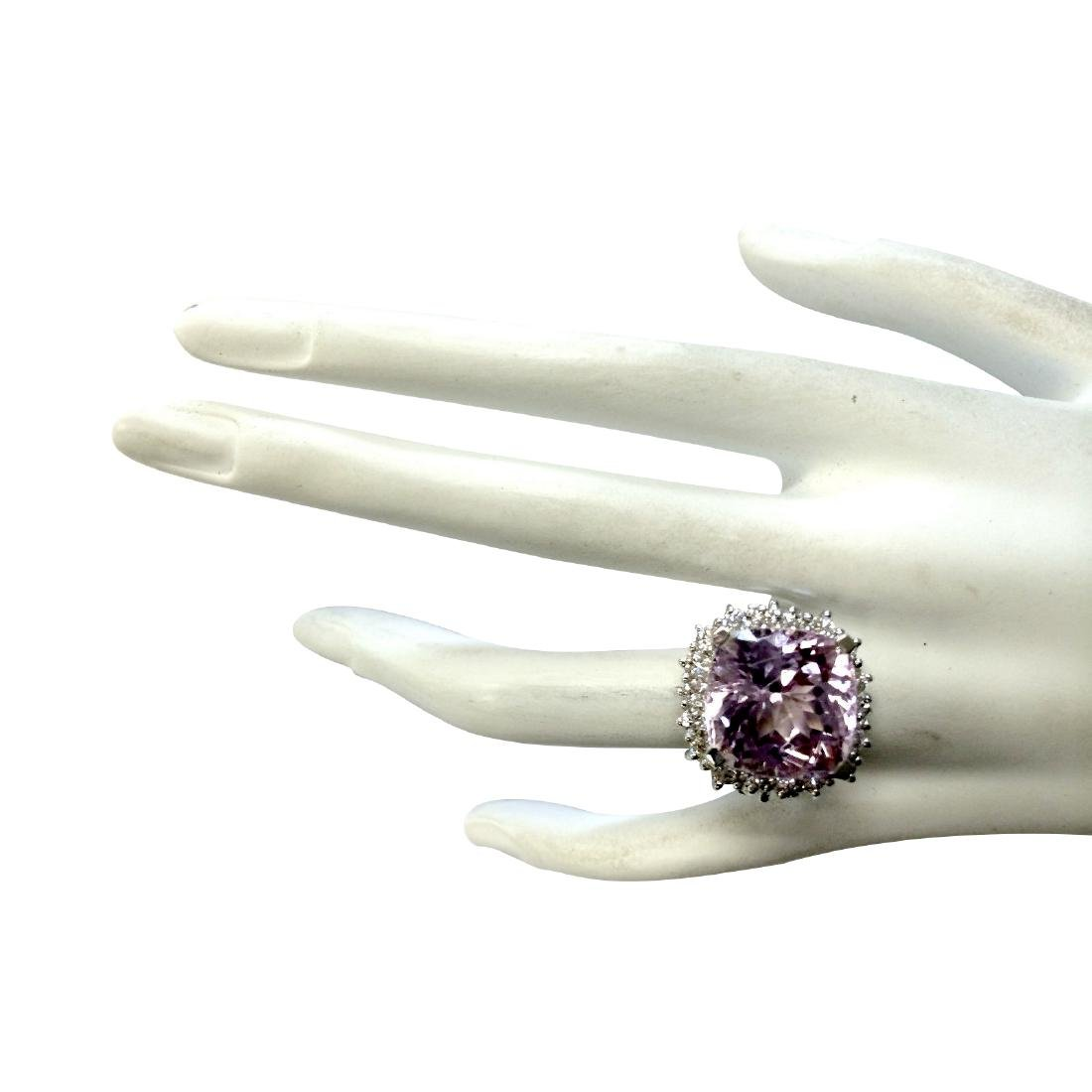 18.62CTW Natural Kunzite And Diamond Ring 18K Solid - 4