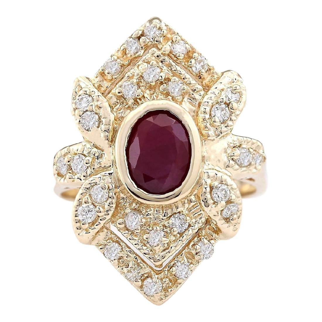 1.75 CTW Natural Ruby And Diamond Ring In 18K Yellow