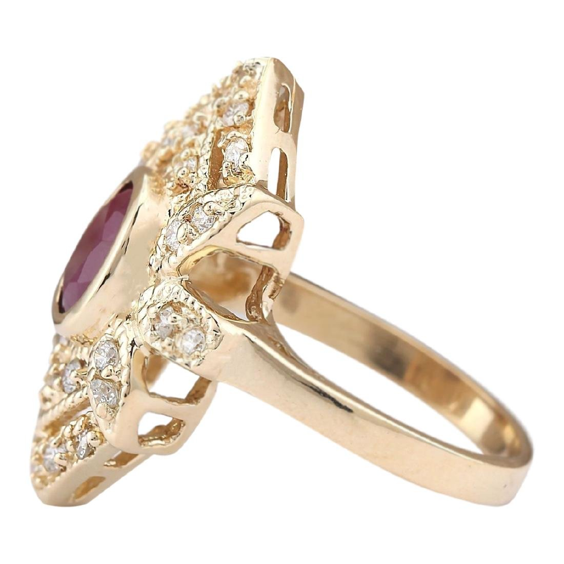 1.75 CTW Natural Ruby And Diamond Ring In 18K Yellow - 2