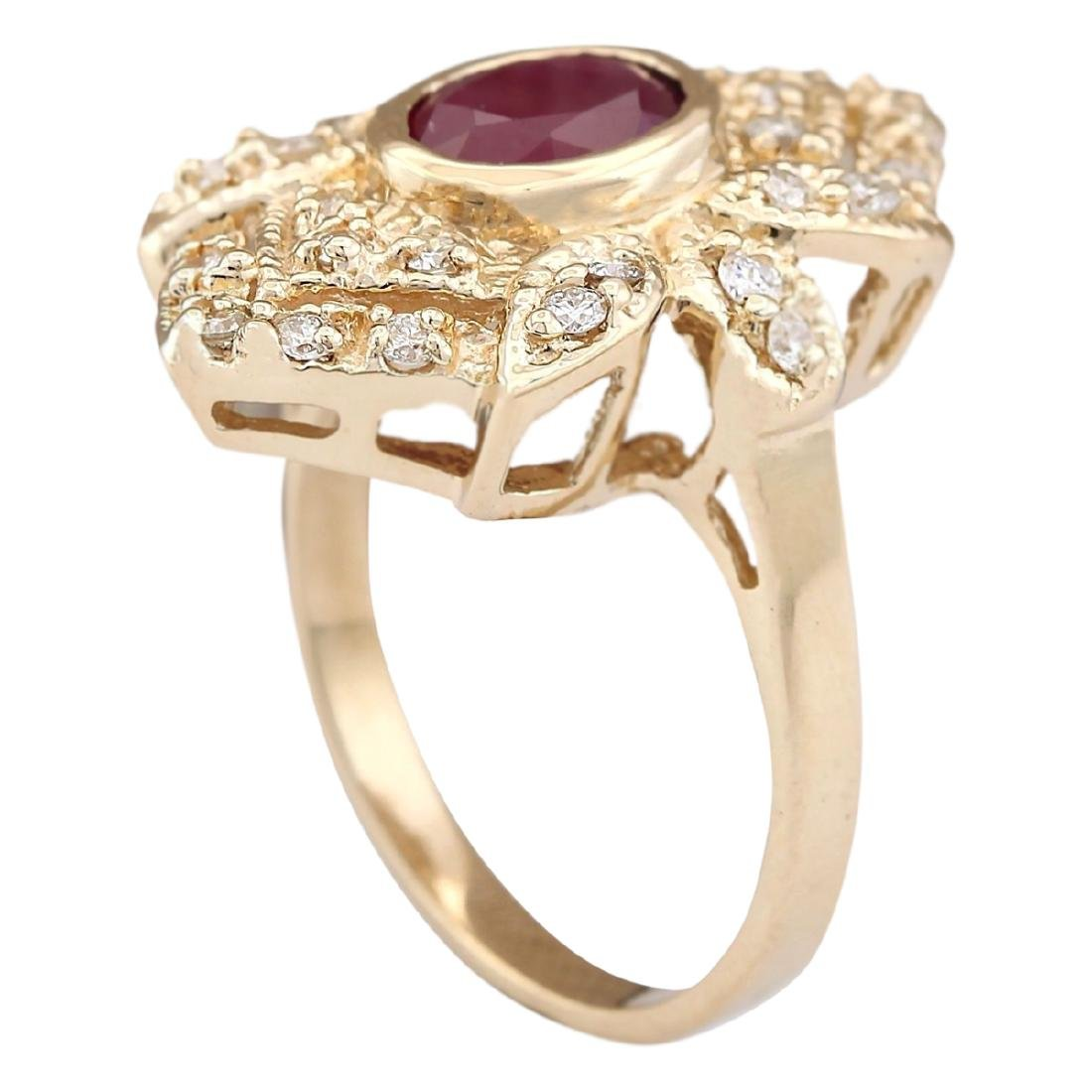 1.75 CTW Natural Ruby And Diamond Ring In 18K Yellow - 3