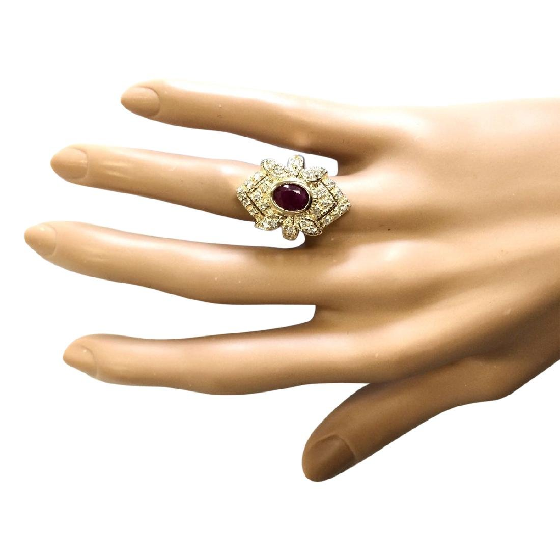 1.75 CTW Natural Ruby And Diamond Ring In 18K Yellow - 4