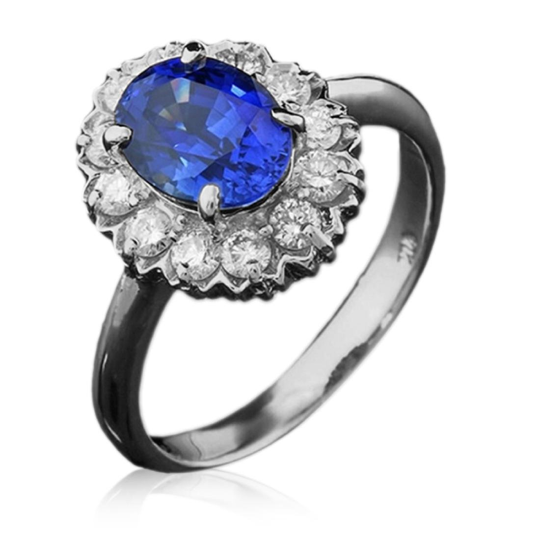 2.25 Carat Natural Sapphire 18K Solid White Gold