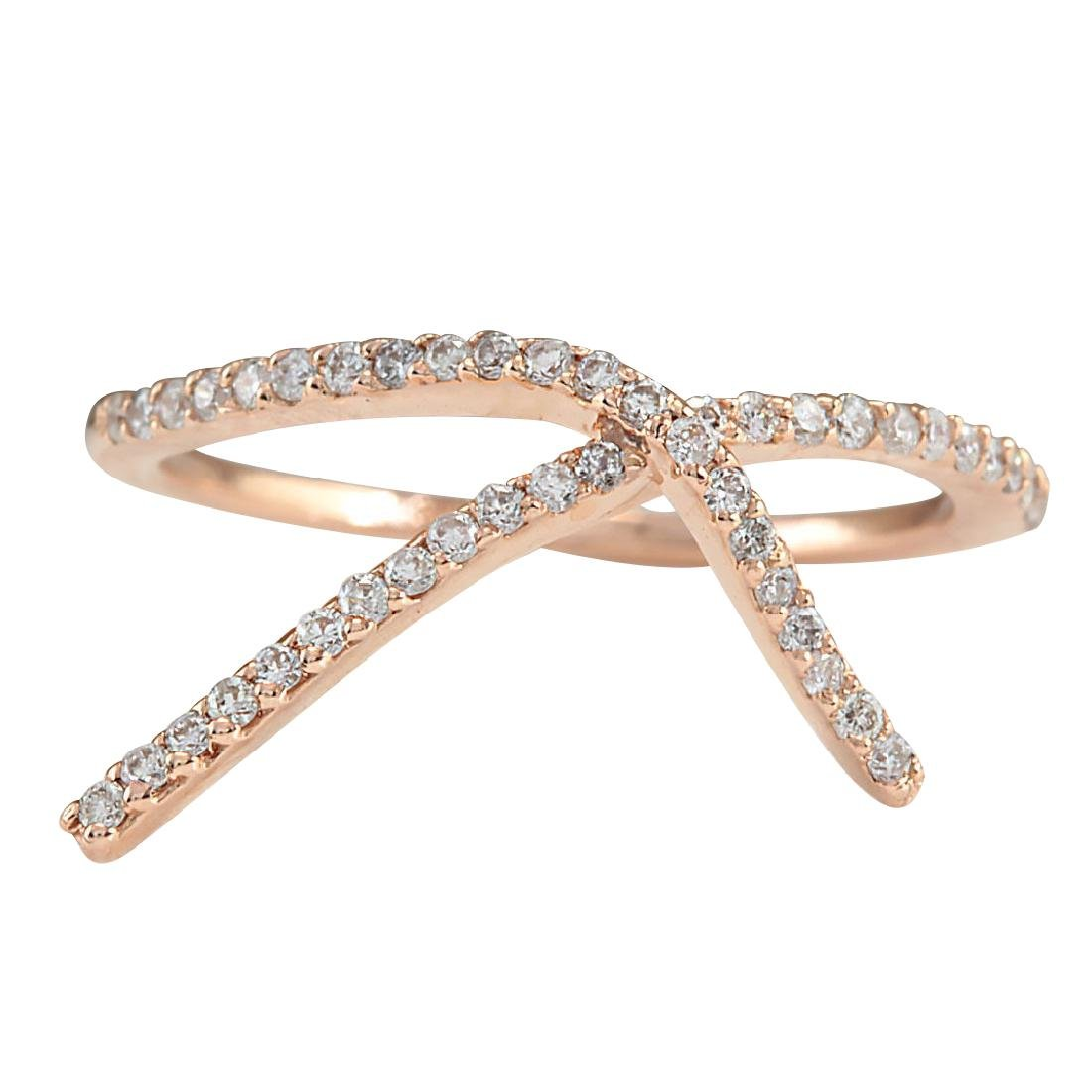 .25CTW Natural Diamond Ring 18K Solid Rose Gold