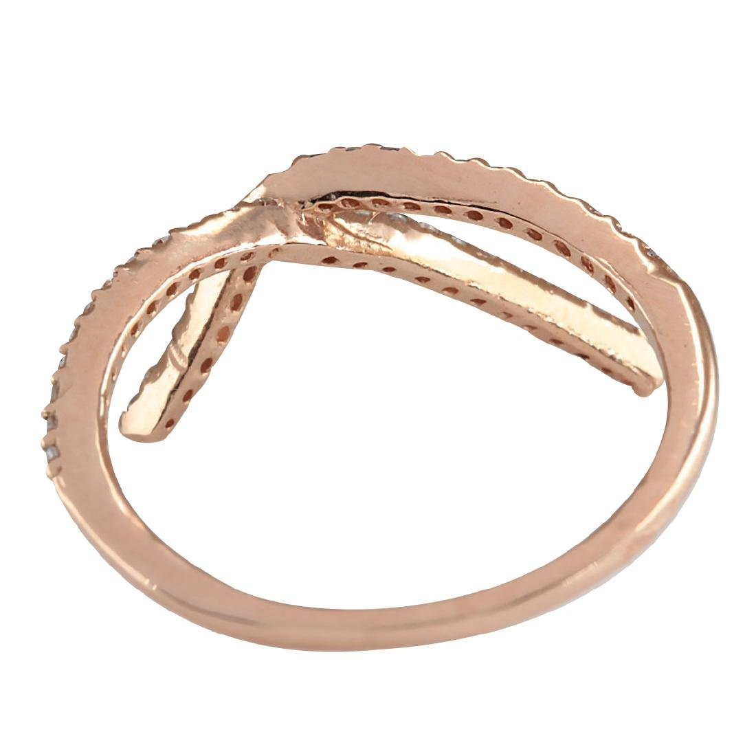 .25CTW Natural Diamond Ring 18K Solid Rose Gold - 3