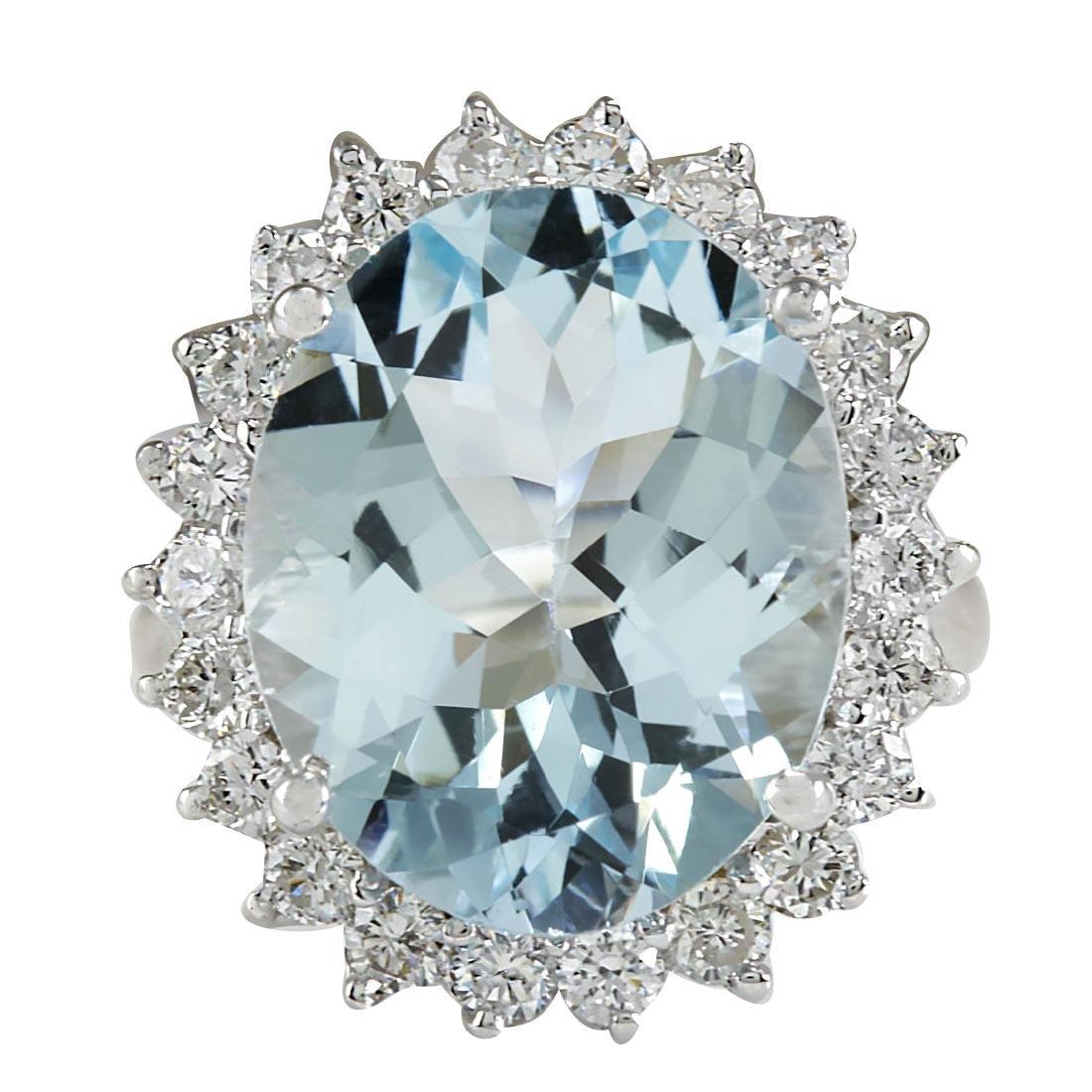8.10CTW Natural Aquamarine And Diamond Ring In 18K