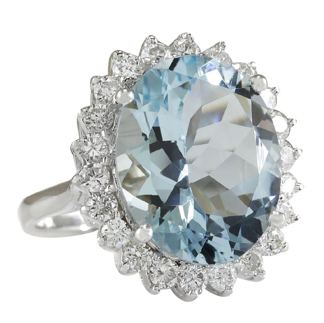 8.10CTW Natural Aquamarine And Diamond Ring In 18K - 2