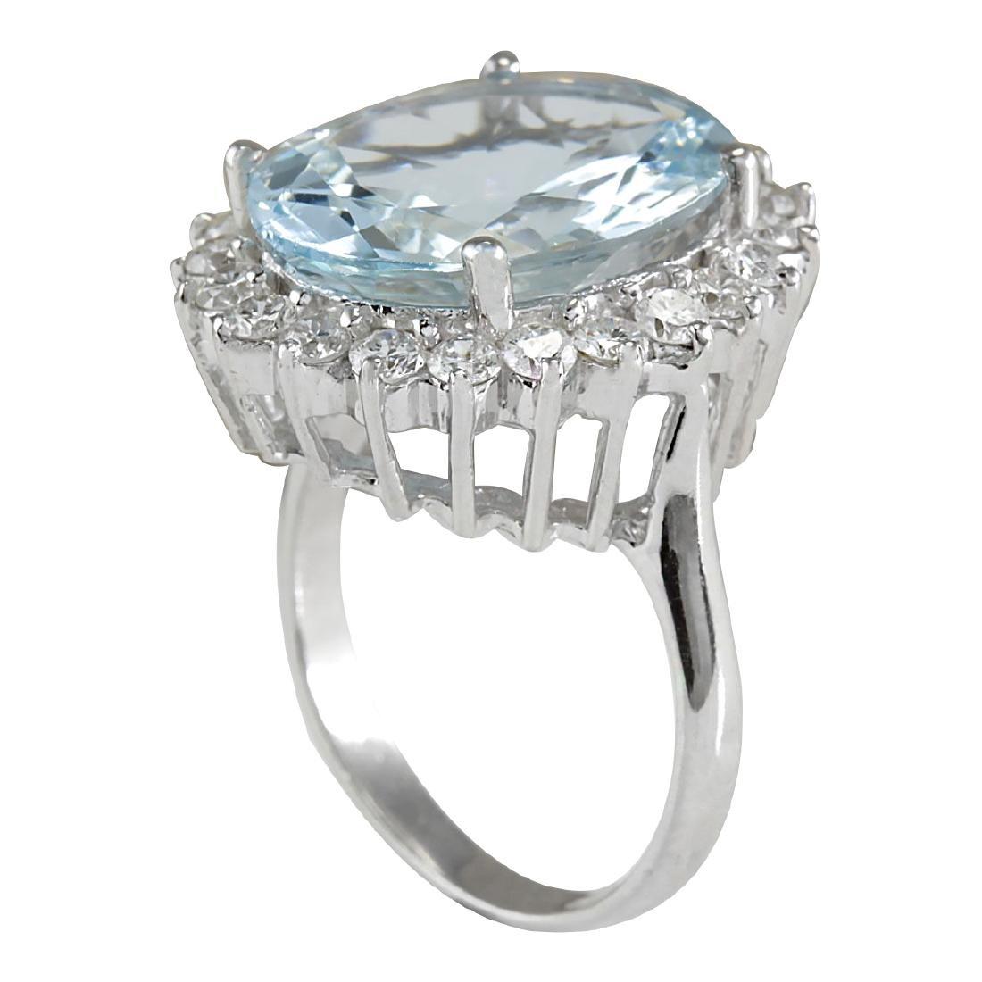 8.10CTW Natural Aquamarine And Diamond Ring In 18K - 3