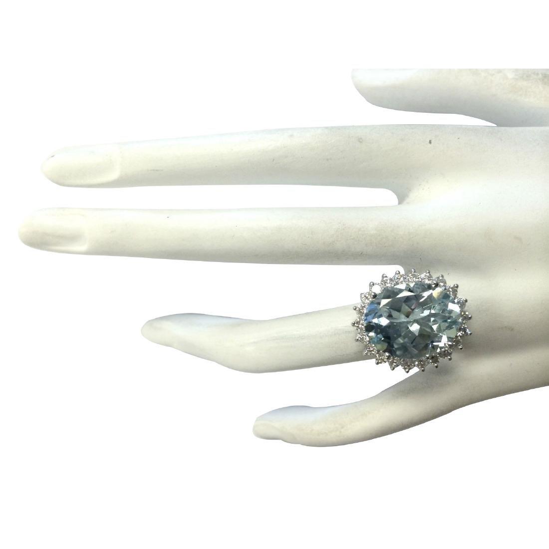 8.10CTW Natural Aquamarine And Diamond Ring In 18K - 4