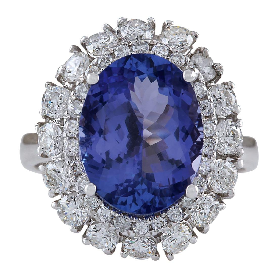 6.52CTW Natural Blue Tanzanite And Diamond Ring 18K