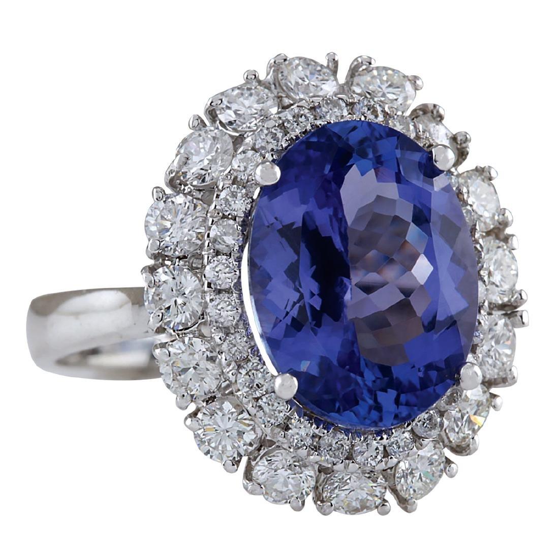6.52CTW Natural Blue Tanzanite And Diamond Ring 18K - 2